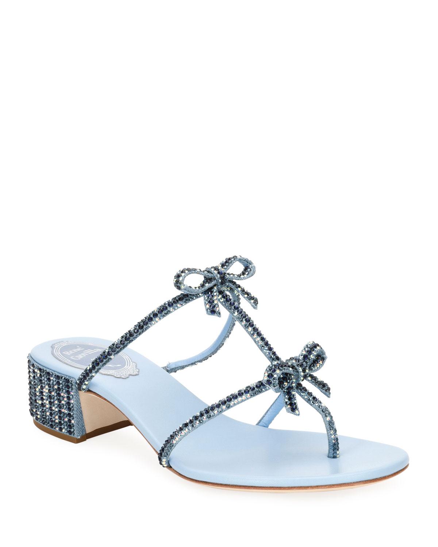 Beaded Denim Block-Heel Thong Sandal with Bows