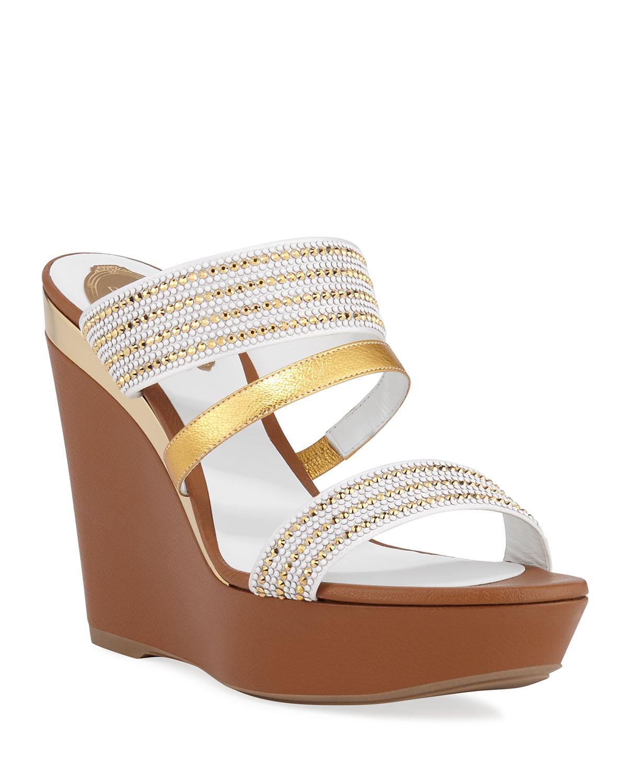 Triple-Strap Wedge Slide Sandals