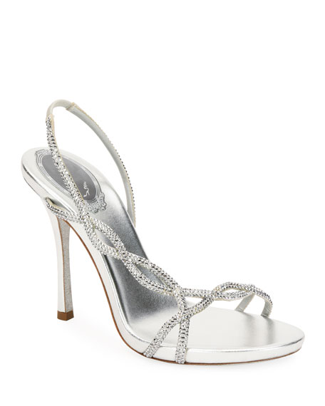 Rene Caovilla Crystal-Embellished Metallic Slingback Sandals