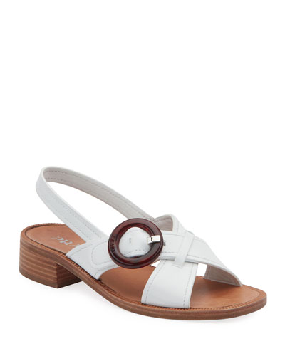 d0e8b900131f Quick Look. Prada · Leather Buckle Flat Sandals. Available in White
