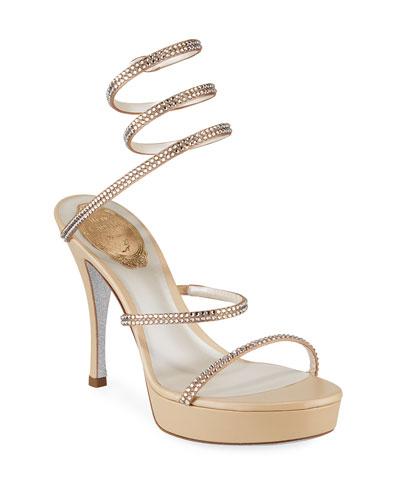 Snake-Wrap Crystal Platform Sandals