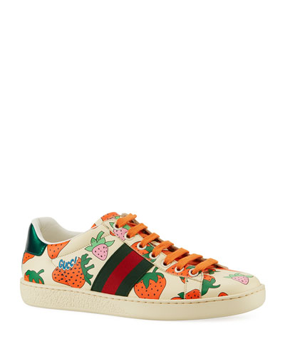 New Ace Leather Low-Top Berry Sneakers