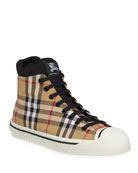 Burberry Kilbourne Check High-Top Sneakers