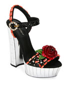 Dolce & Gabbana Embellished Mirrored Platform Sandals
