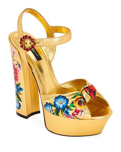 Floral-Print Metallic Leather Platform Sandals