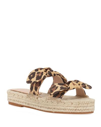 Daisy Leopard-Print Bow Espadrilles