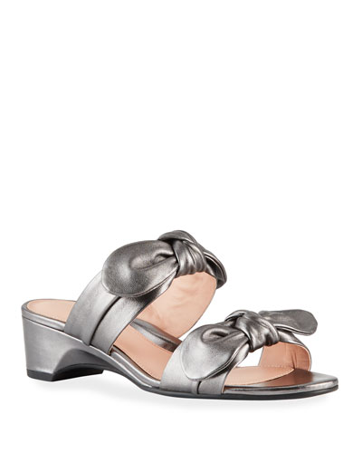 Nanette Metallic Bow Wedge Sandals