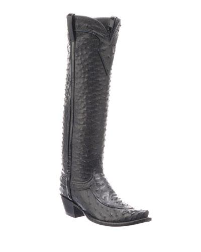 Mattea Ostrich Knee Boots