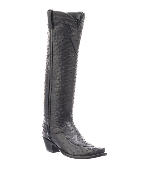 Lucchese Mattea Ostrich Knee Boots (Made to Order)