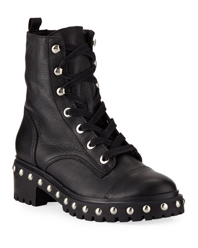 Andrea Studded Leather Combat Boots