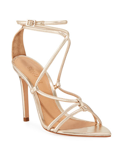 Evellyn Strappy Metallic Leather Sandals