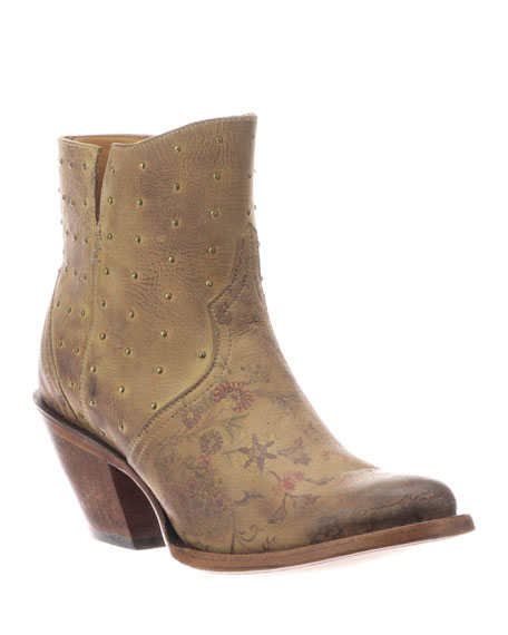 Lucchese Harley Distressed Floral-Print Boots (Made to Order)