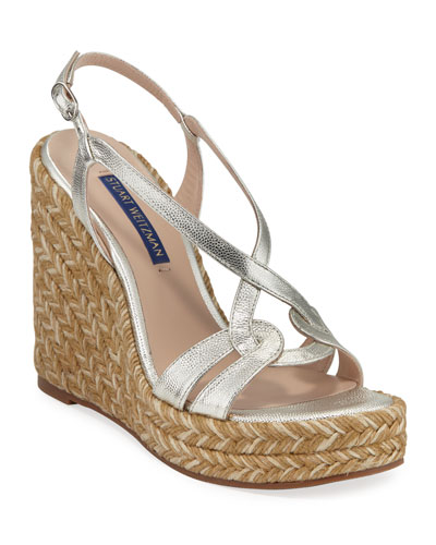 Metallic Leather Wedge Espadrilles