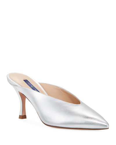 6ea5cea18bf Quick Look. Stuart Weitzman · Lulah Mid-Heel Metallic Leather Mules.  Available in Silver