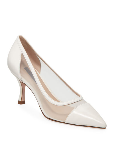 Monroe Mesh-Sided Leather Pumps