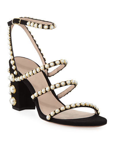 Peridot Pearly Embellished Sandals, Black