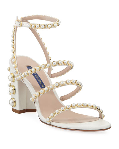 Peridot Pearly Embellished Sandals, White