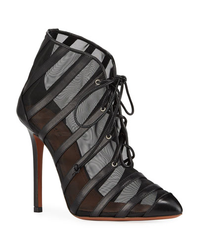 Caged Mesh Lace-Up Booties