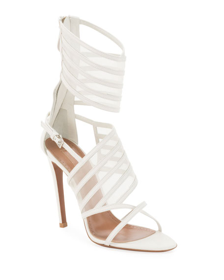 ALAIA Mesh and Leather Cuffed Sandals