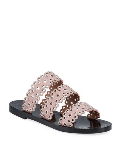 Grommet Studded Leather Slide Sandals
