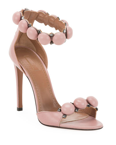 Bombe Stud Leather Ankle-Wrap Sandals