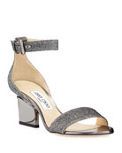 Jimmy Choo Edina Metallic Fabric Sandals, Gray