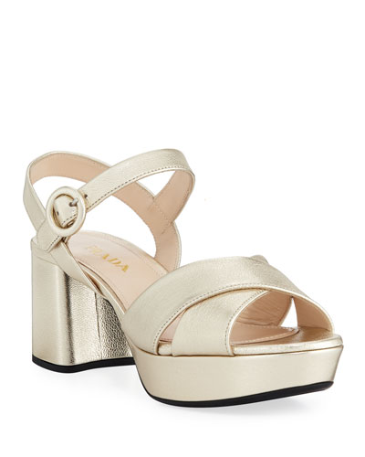 Metallic Leather Crisscross Ankle-Wrap Sandals