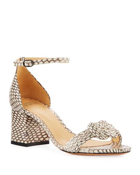 Alexandre Birman Malica Knot Snakeskin Sandals