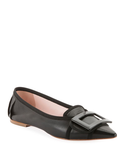 Soft Gommettine Ballet Flats with Lacquered Buckle