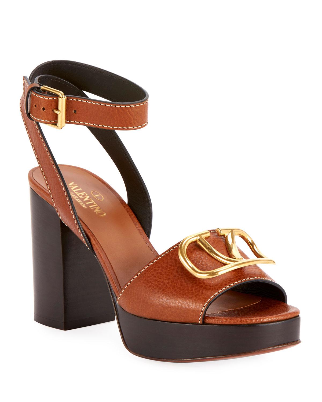 VLOGO Leather Platform Sandals