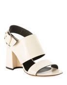 Dries Van Noten Calf Leather Chunky Heel Sandals