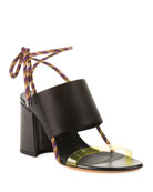 Dries Van Noten Calf Leather Ankle-Tie Sandals