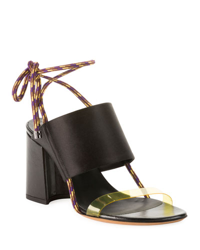 Calf Leather Ankle-Tie Sandals