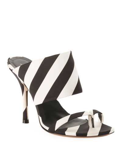 Striped Fabric Mule Sandals