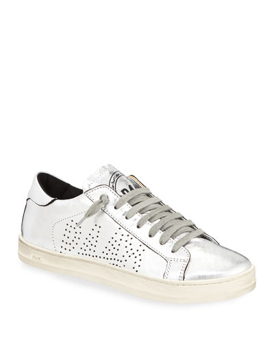 John Lace-Up Metallic Leather Sneakers
