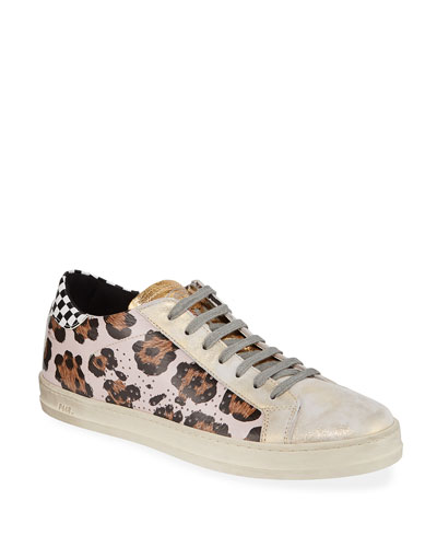 John Mixed-Print Leather Sneakers