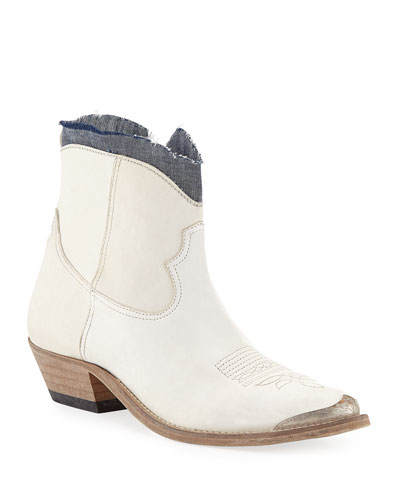 Young Denim-Ankle Leather Boots