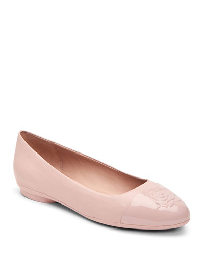 334ccbd8548 Cap Toe Leather Ballerina Flat