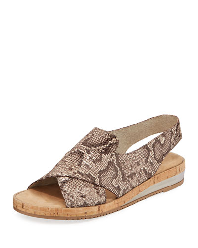 Sabita Comfort Printed Leather Slingback Sandals