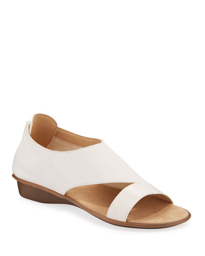 Elen Comfort Leather Sneaker Sandals, White
