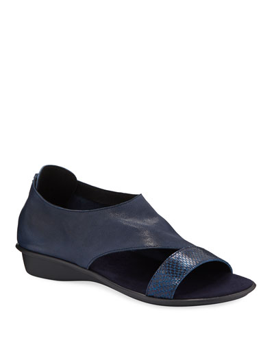 Elen Comfort Leather Sneaker Sandals, Navy