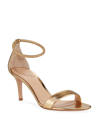 Metallic Leather Anklet Sandals
