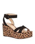 Gianvito Rossi Leopard Satin Wedge Sandals