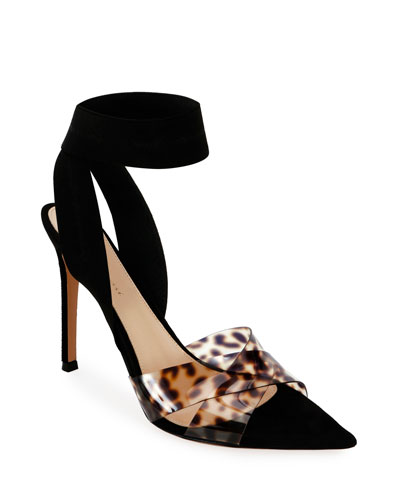 Leopard Ankle-Wrap Pumps