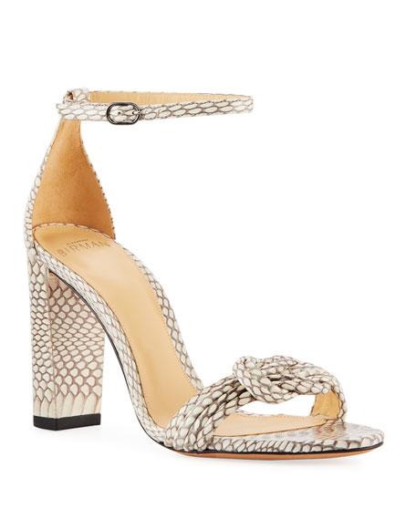 Alexandre Birman Vicky Knot Snakeskin Sandals