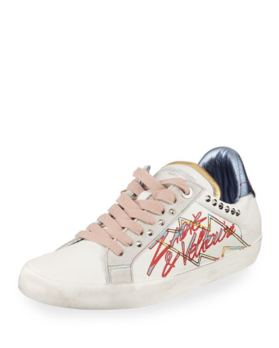 Zadig Tag Embellished Leather Sneakers
