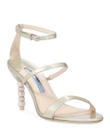 Sophia Webster Rosalind Bridal Mid-Heel Crystal Pearly Sandals
