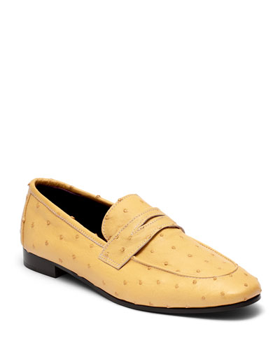 Flaneur Ostrich Slip-On Flat Loafers, Yellow