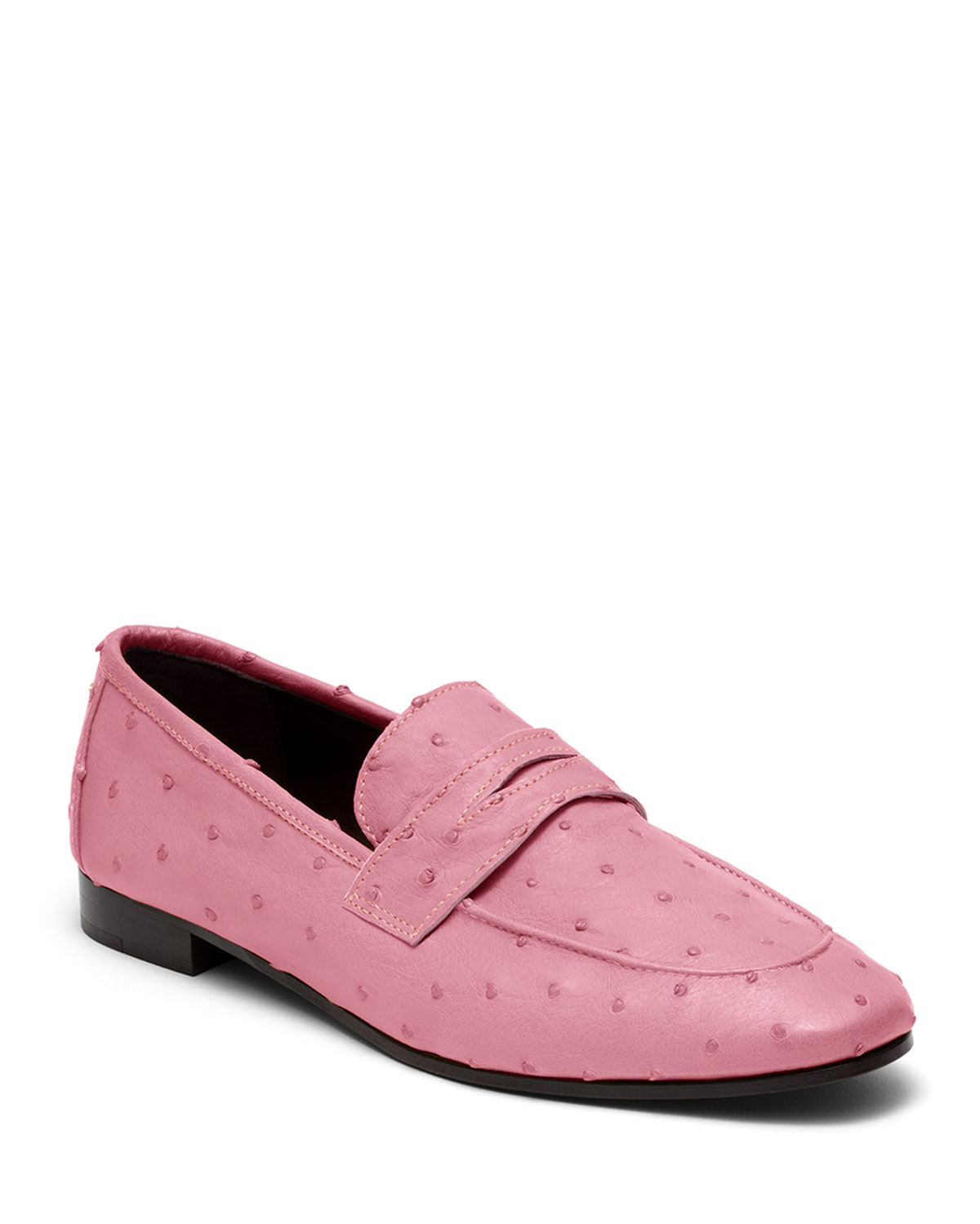 Flaneur Ostrich Slip-On Flat Loafers, Pink