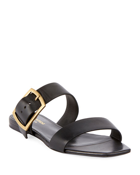 Saint Laurent Jodie Flat Leather Slide Sandals